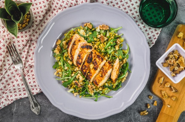 Red Curry Chicken with Freekeh Kiwi Rocket Parmesan Salad