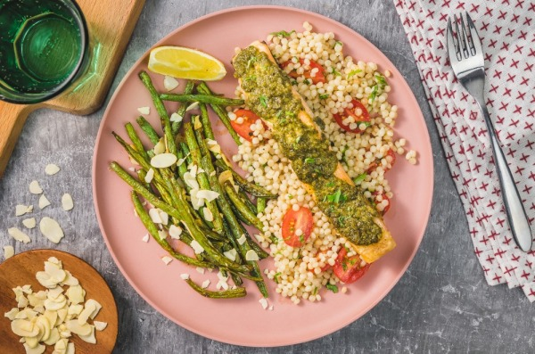 Salmon Pesto Baked with Couscous and Spiced Green Beans